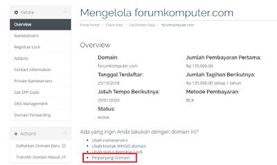 Cara Memperpanjang Domain Di RumahWeb