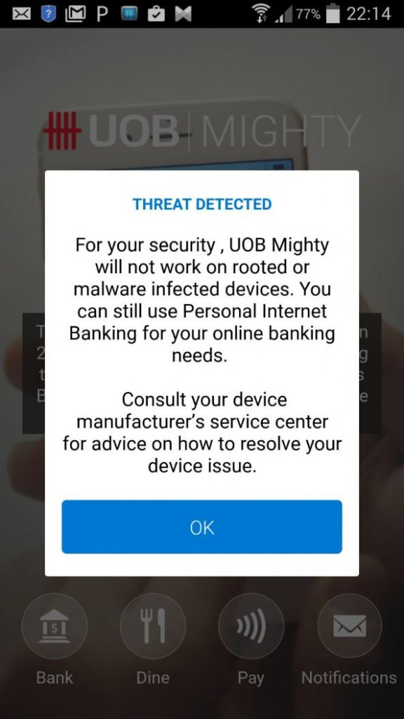 Tech | Money Mind: UOB mighty app gets blocked on rooted android devices