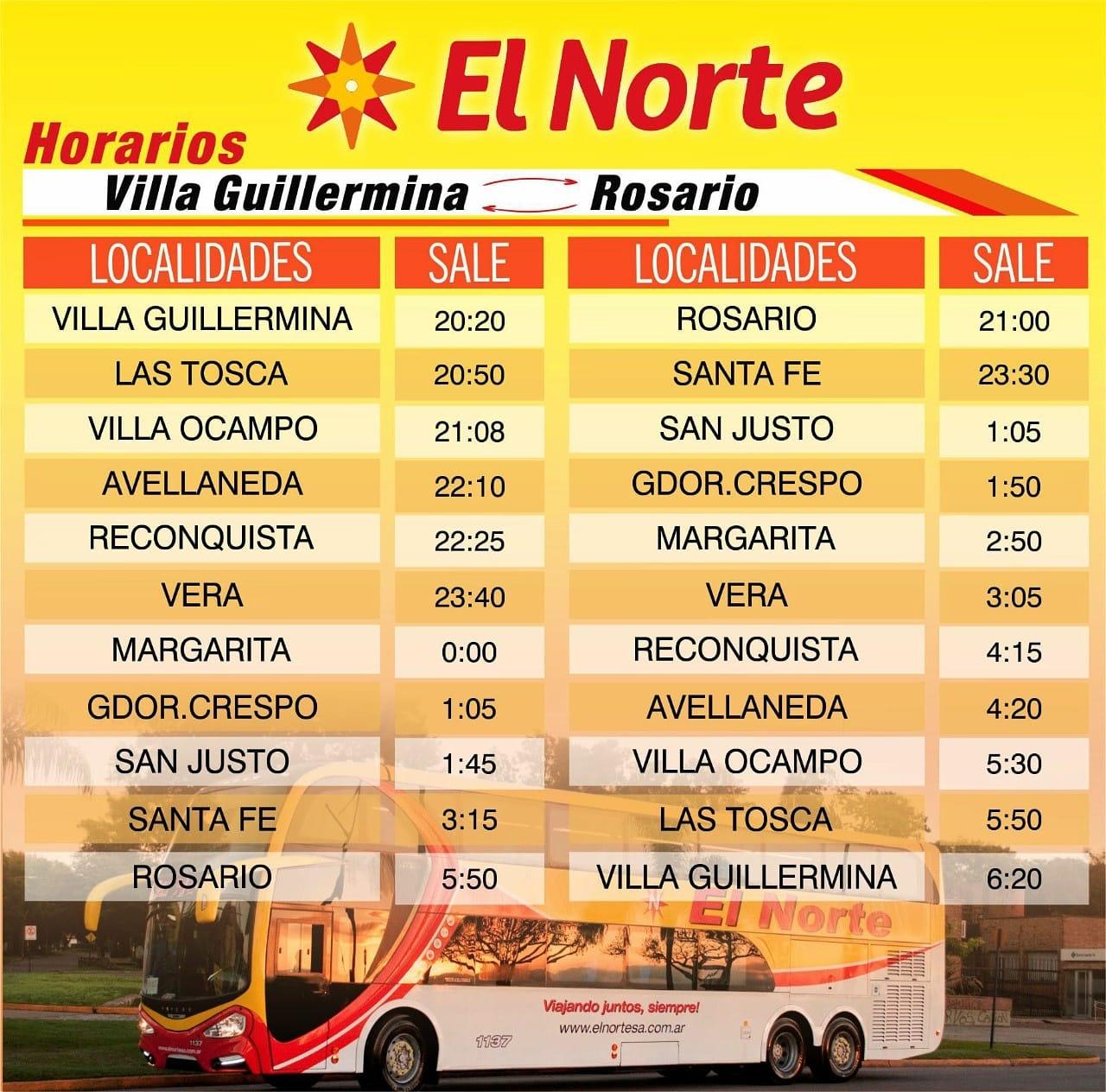 Horarios Villa Guillermina - Rosario