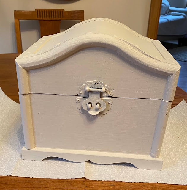Photo of treasure chest painted in Drop Cloth