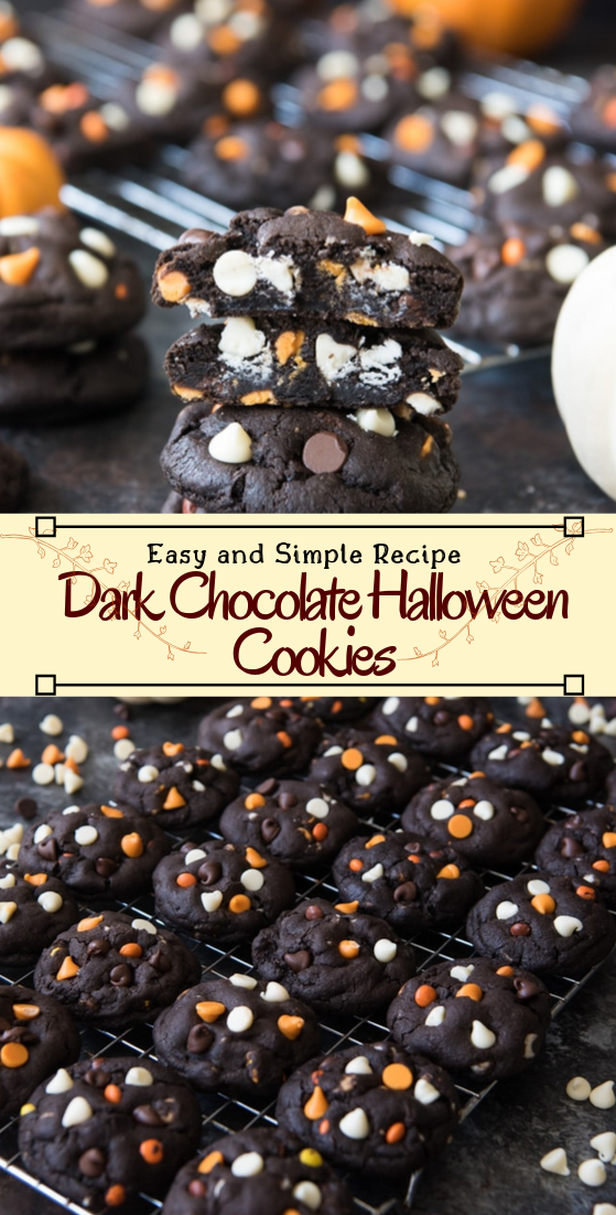 Dark Chocolate Halloween Cookies #desserts #cakerecipe #chocolate #fingerfood #easy