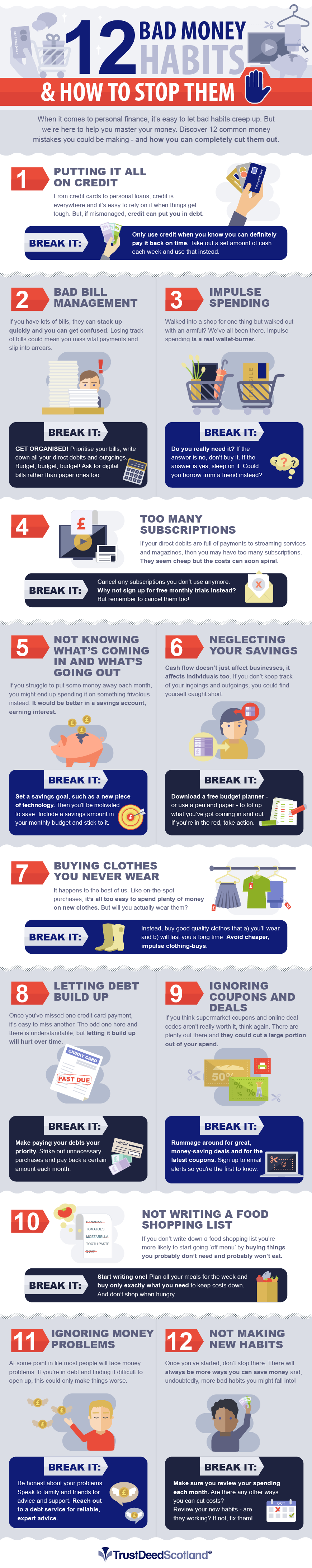 12 Bad Money Habits And How To Stop Them - #infographic