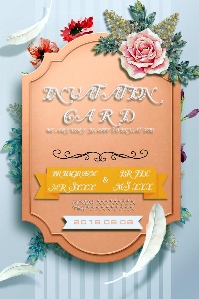 Simple & Romantic Wedding Invitation Card Templates