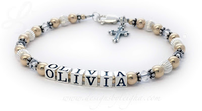 Olivia Gold Mother Bracelet with April Birthstone Crystals and a Fancy Cross Charm - DBL-G3-1