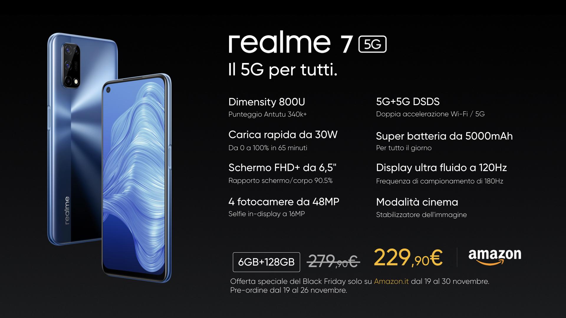 realme 7 (doppio) 5G in Italia a 229 euro