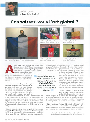 ARTS MAGAZINE Septembre / Octobre 2015.Connaissez-vous l'art global ? Article de Frédéric Taddeï sur Art warning the world et Klaus Guingand