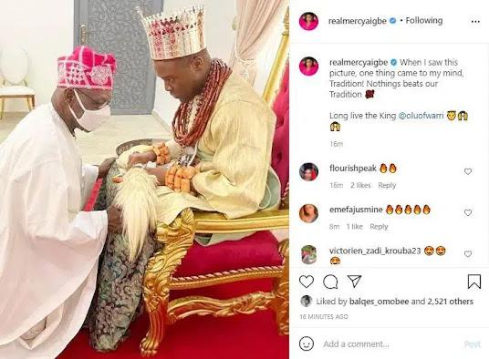 Obasanjo Kneeling,Olu Of Warri,Mercy Aigbe Reacts,Entertainment,