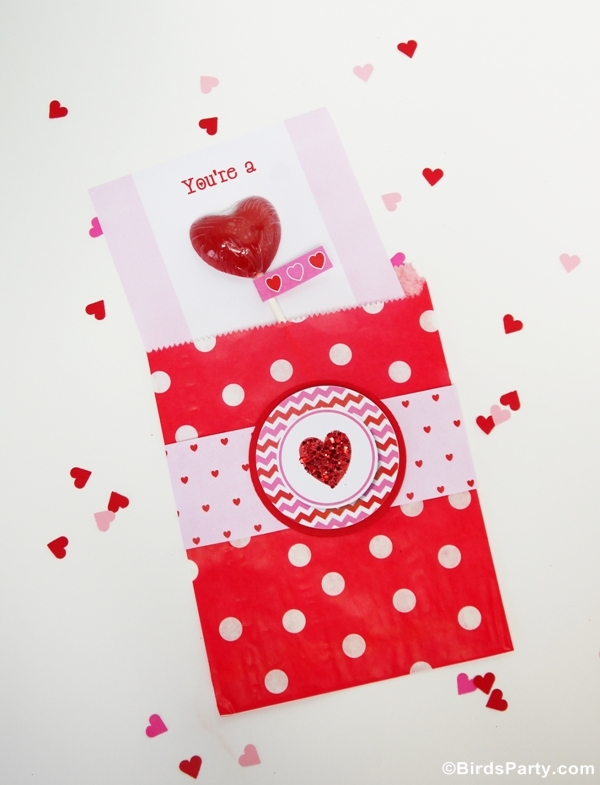 DIY Sweet Heart Lollipop Valentine's Day Card  - BirdsParty.com