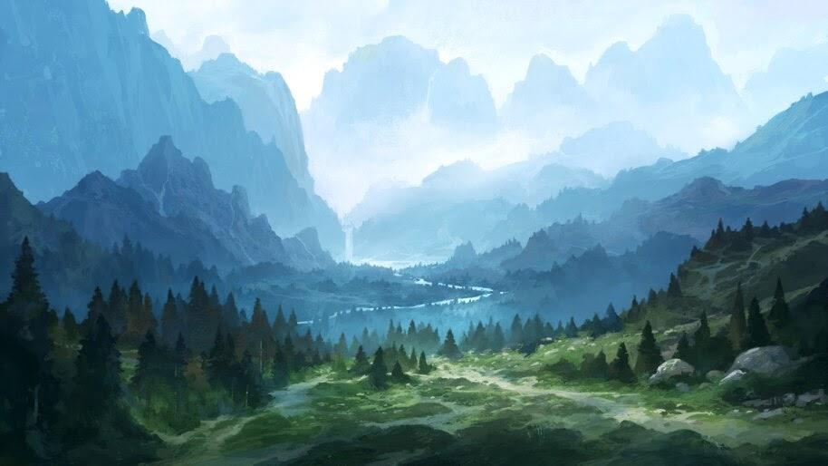 Nature, Forest, Mountain, Digital Art, 4K, #6.1280 Wallpaper