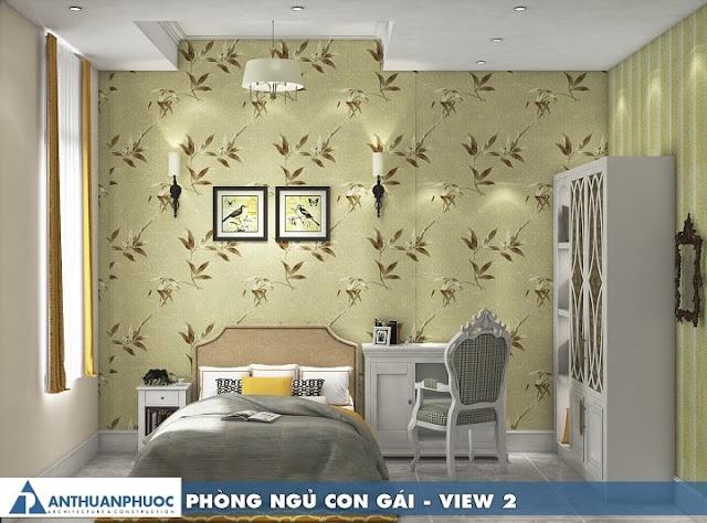 Thiết kế nội thất phòng ngủ hiện đại với giấy dán tường