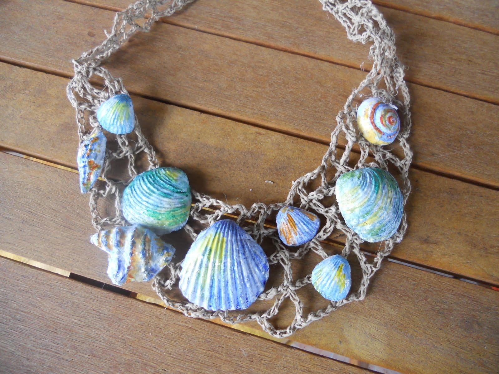 """Eccezionale eliver-""""arte""""a casa mia: collane con carta pesta marine!!! SK08"""