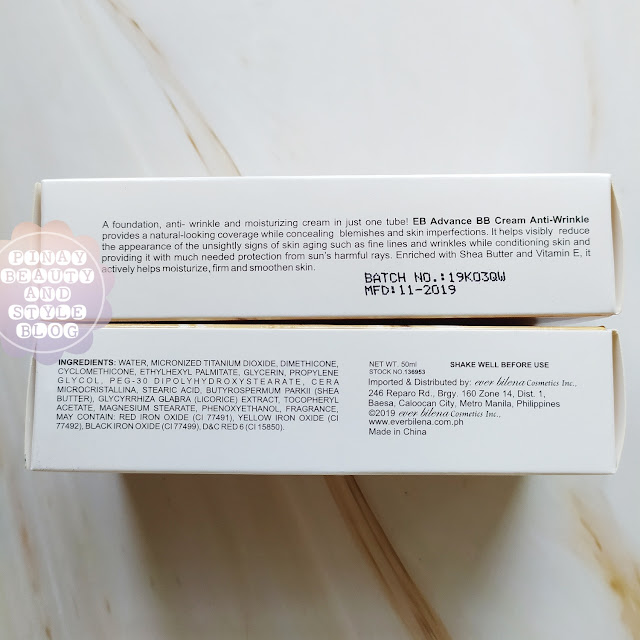 EB Advance BB Cream shades swatches review ingredients
