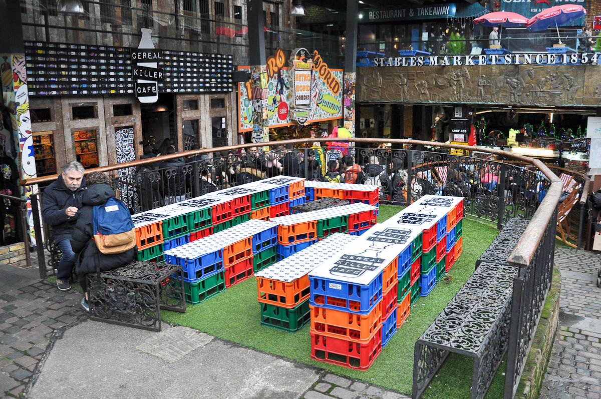 The seating area of the Cereal Killer Cafe, The Stables Market, Camden Town, London, England