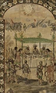 Reunión entre Moctezuma y Cortes