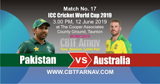 17th Match AUS vs PAK World Cup 2019 Today Match Prediction