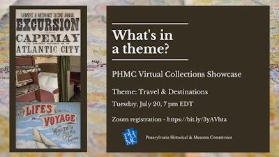 Text for event graphic reads What's in a theme? PHMC Virtual Collections Showcase