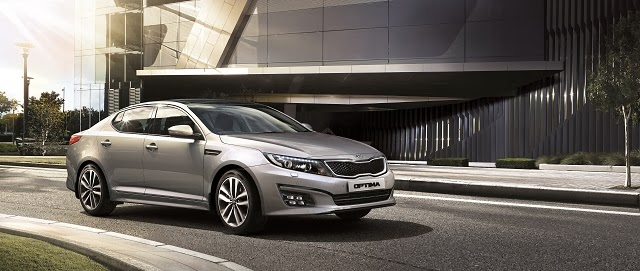 The new Kia Optima K5 with it's new enhanced sport rim design