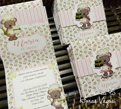 convite de aniversário infantil personalizado jardim encantado ursinha confeiteira floral delicado vintage rosa menina 1 aninho