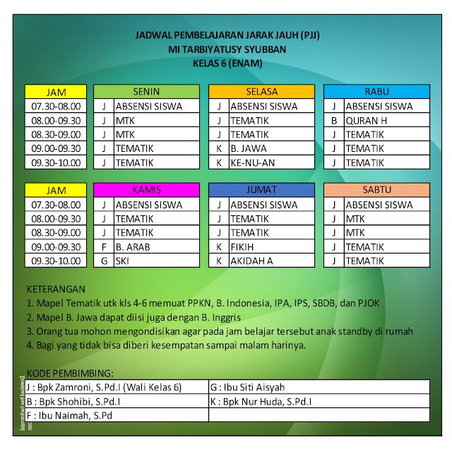 Jadwal PJJ Kelas 6 MI Kalimulyo