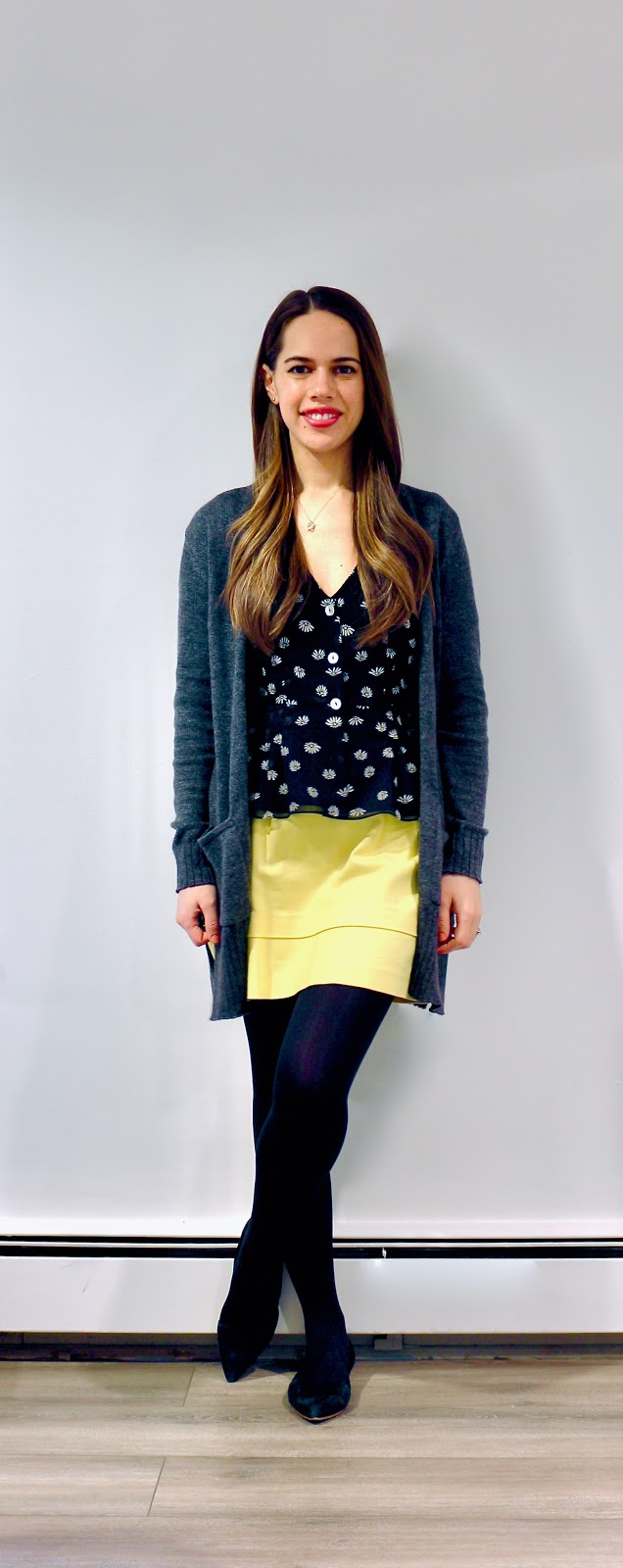 Jules in Flats - Neon Yellow Mini Skirt (Business Casual Winter Workwear on a Budget)