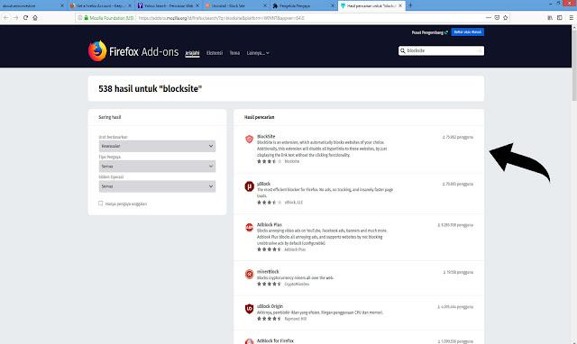 blokir website dari mozilla firefox