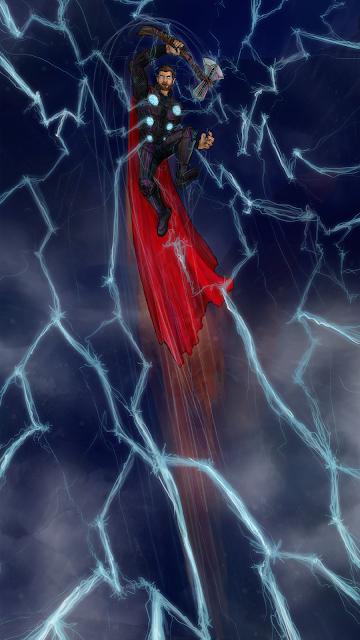 Thor fan art phone wallpaper