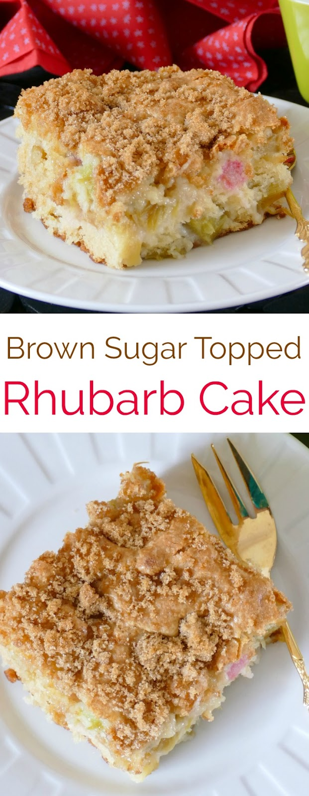 This spring and summer cake is absolutely perfect with the tart rhubarb and crunchy brown sugar topping! Great for BBQ's, picnics, brunch or parties!
