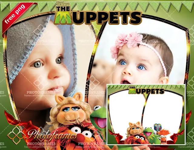Marco infantil de los Muppets para colocar 2 fotos