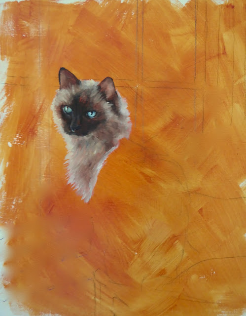 Birman cat oil painting - work in progress