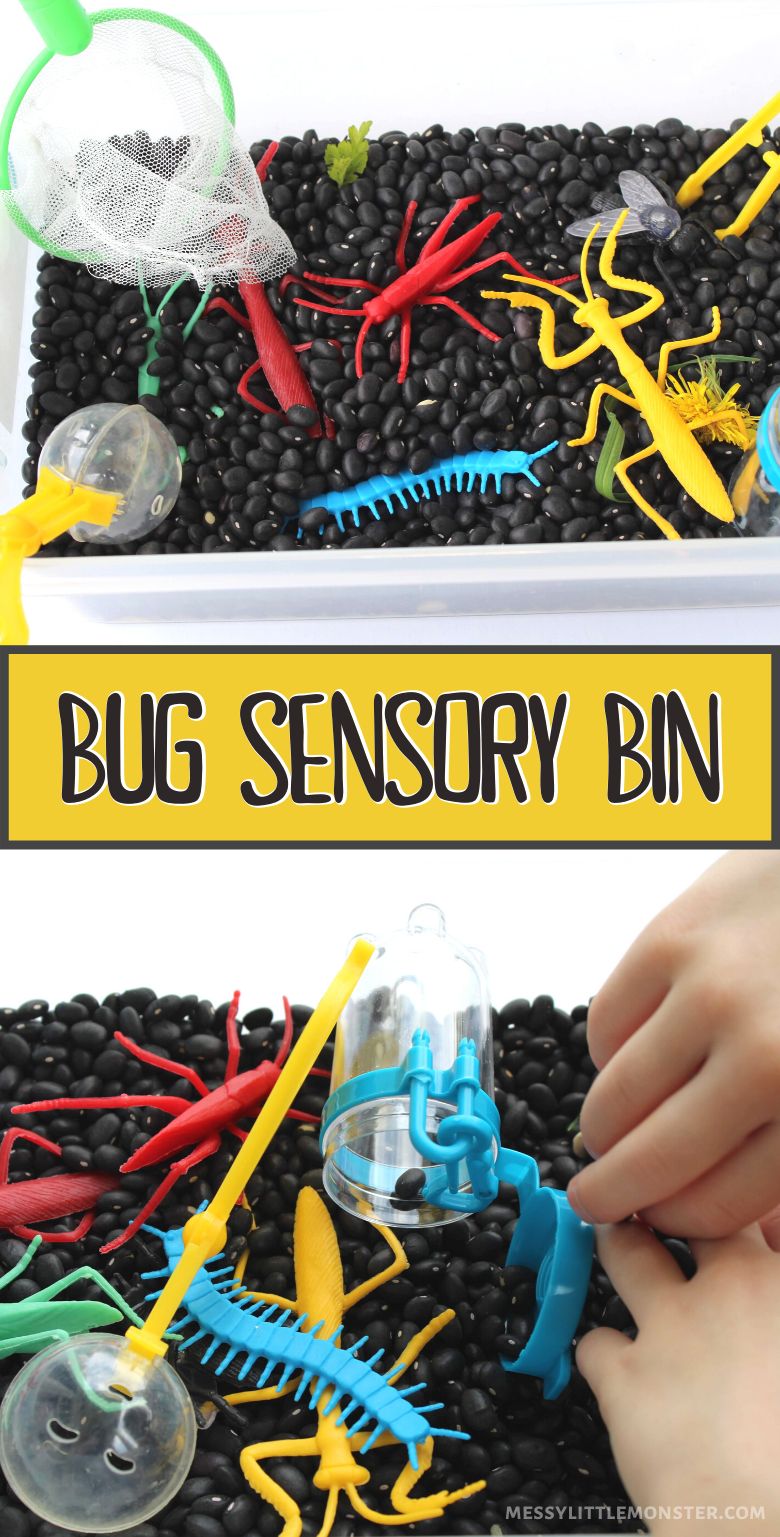 Bug sensory bin fine motor activity for toddlers and preschoolers. Easy bug activities for kids.
