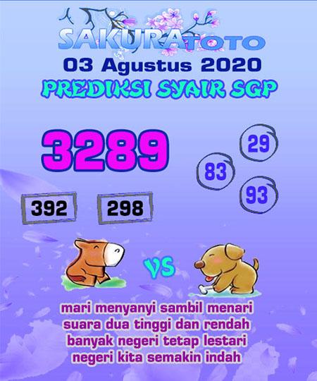 Prediksi Sakuratoto SGP Senin 03 Agustus 2020