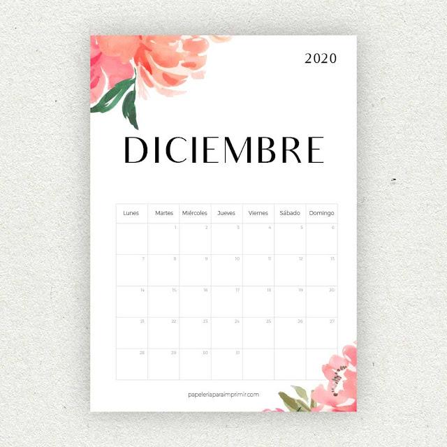 Calendario 2020 de Diciembre para imprimir