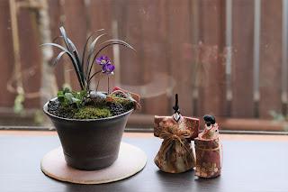丸い陶盤にのった茶色のそり型の鉢の山野草盆栽と立ち雛