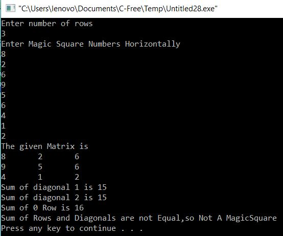 Check Whether Given Matrix is Magic Square or Not