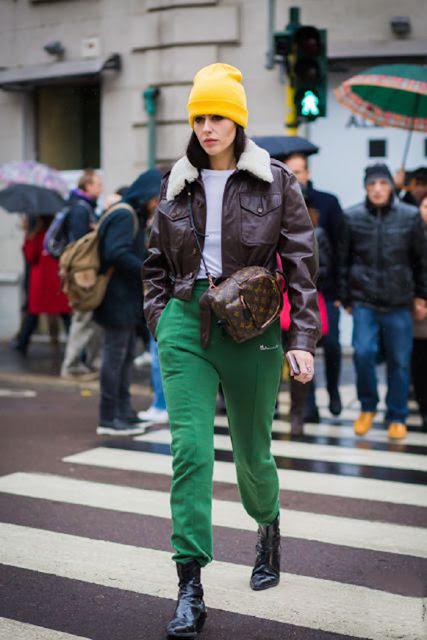sweatpants street style, athleisure street style