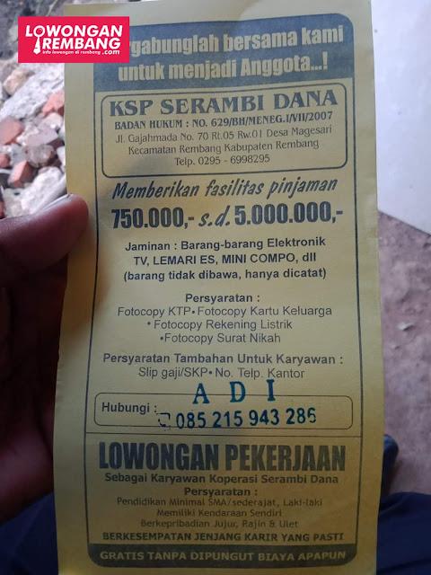Lowongan Kerja Karyawan KSP Serambi Dana Rembang