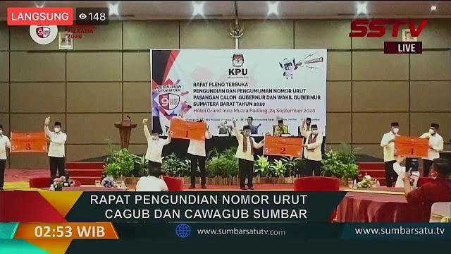 KPU Sumbar Tetapkan No Urut Paslon Gubernur , Wartawan dan Pendukung Tidak Bisa Menyaksikan | dutametro
