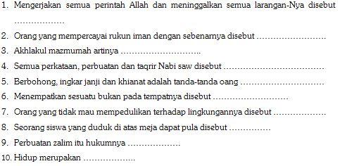 Contoh Soal Ulangan Harian Mata Pelajaran Pendidikan Agama Islam SD Kelas VI Format Microsoft Word