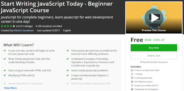 [100% Off] Start Writing JavaScript Today - Beginner JavaScript Course| Worth 100$