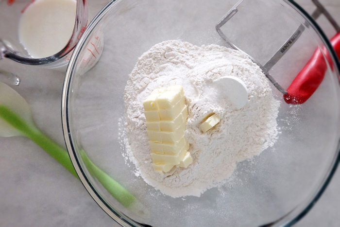 baking powder biscuit ingredients in a bowl