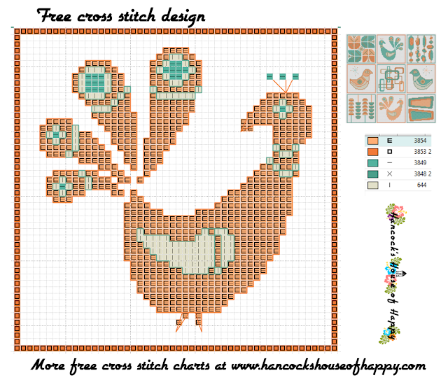 Mid-Century Madness: Free Country Style Mid-Century Cross Stitch Sampler Design Part VIII