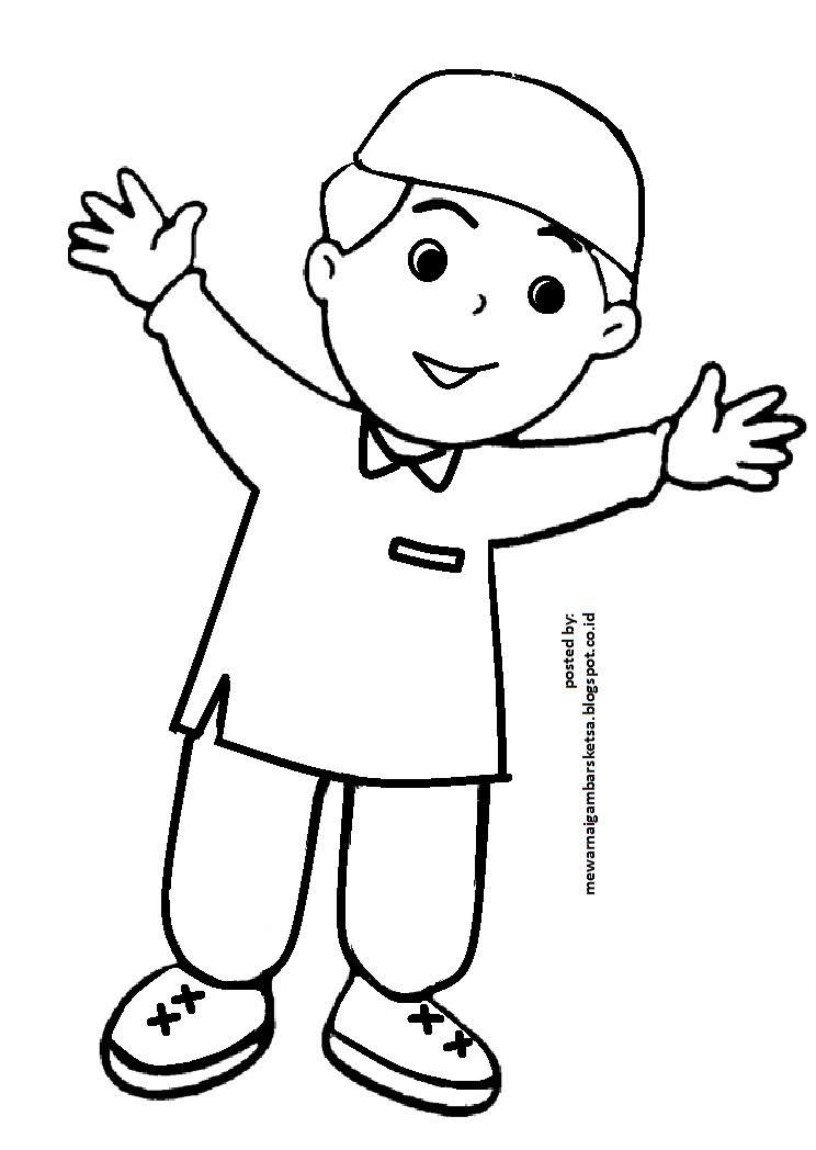Mewarnai Gambar: Mewarnai Gambar Sketsa Kartun Anak Muslim 11