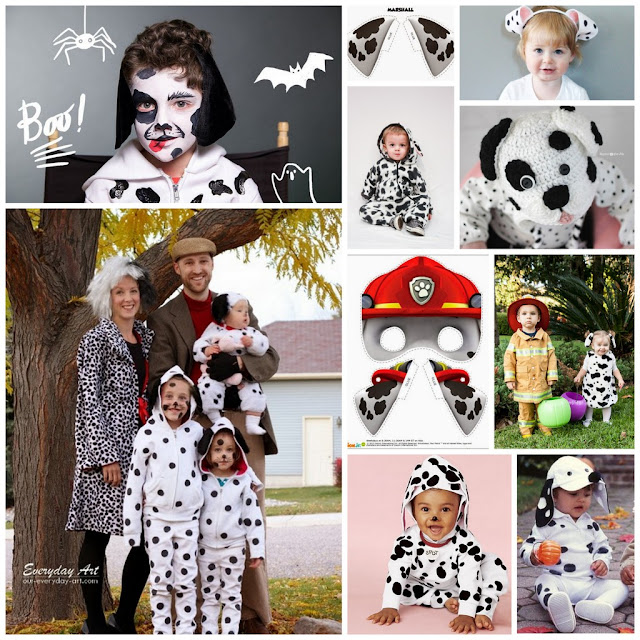 A collection of DIY Dalmatian Halloween costume ideas