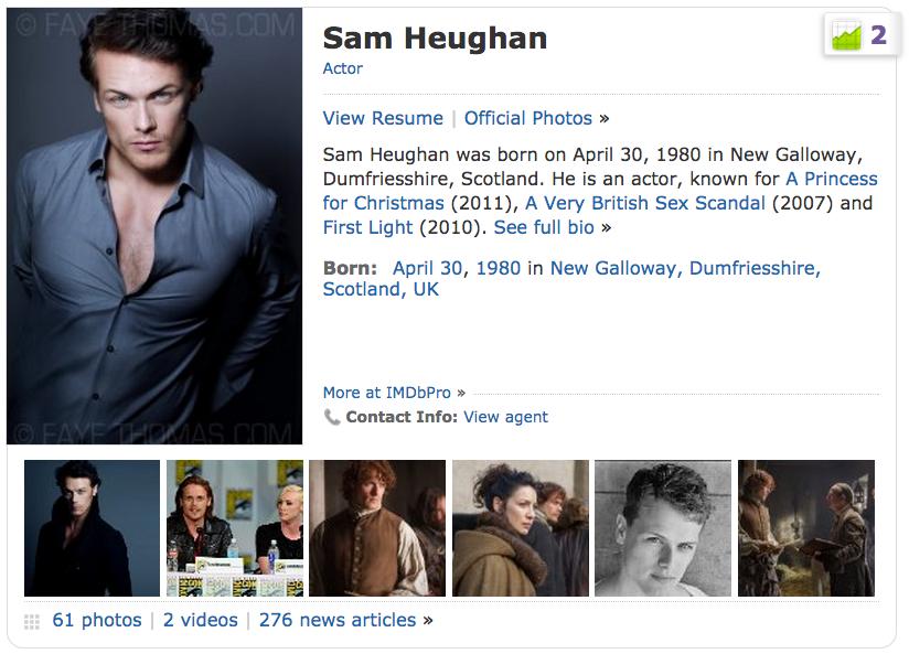 My OUTLANDER Purgatory: Sam Heughan Soars Up The IMDb Starmeter!