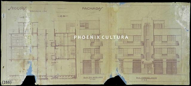 Projeto para construção de um prédio comercial e residências à rua Pereira Pinto n. 24 esquina Rosário n. 59 [atual rua Carlos Gomes, Centro, Vitória], proprietário Lourdes Peixoto de Mello, agosto de 1935.