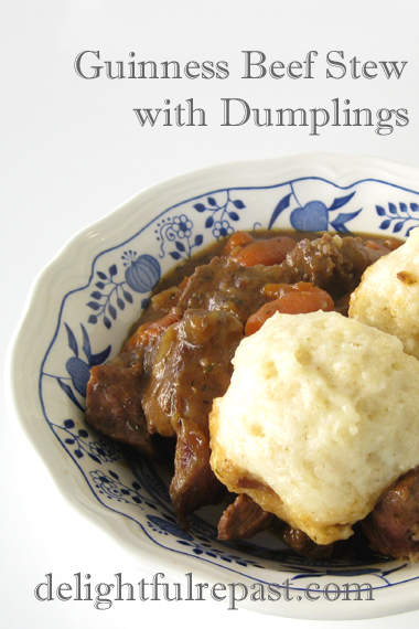 Guinness Beef Stew (with Dumplings, in these photos, or over Mashed Potatoes) / www.delightfulrepast.com