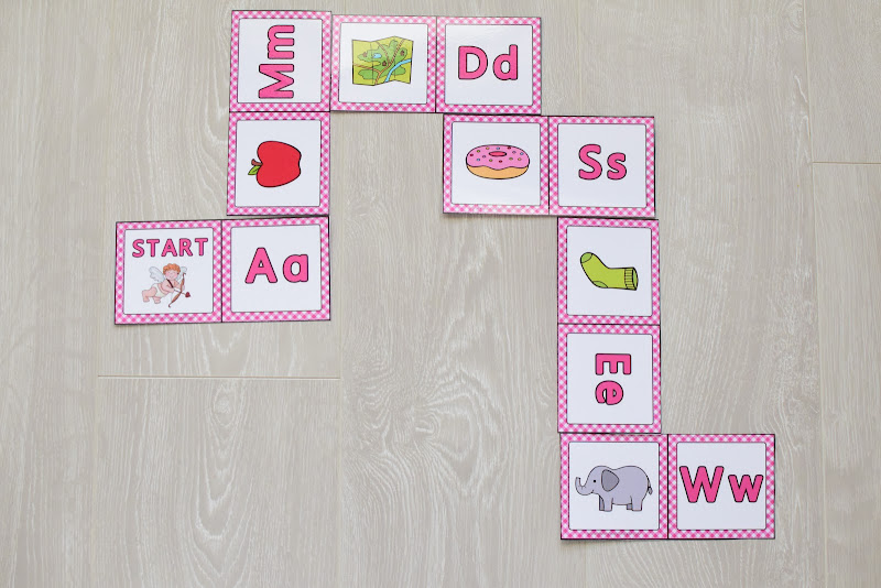 Valentine's Day Themed Unit: A to Z Beginning Sound Domino Game