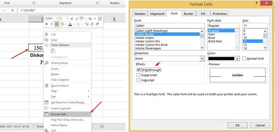 Cara Buat Tulisan Coret di Excel