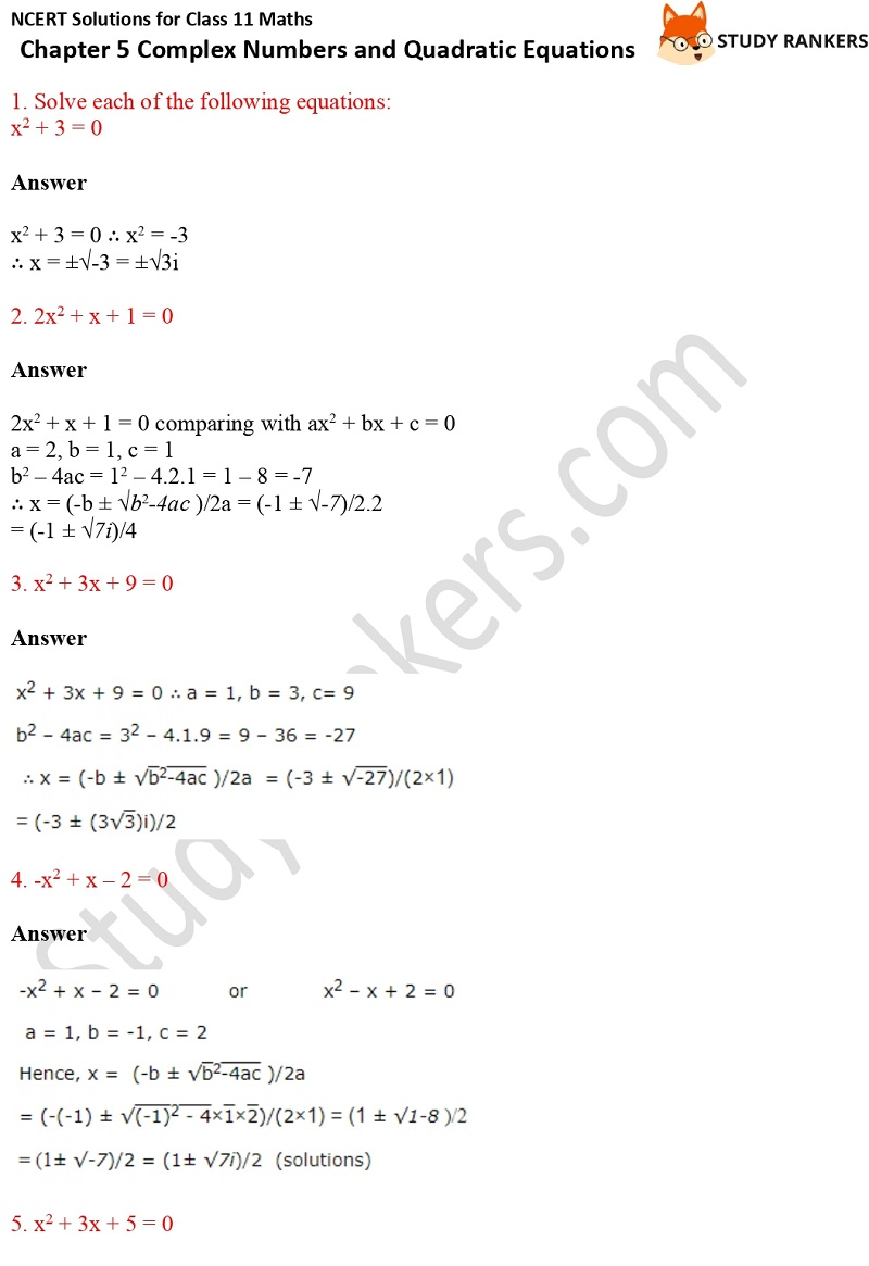 NCERT Solutions for Class 11 Maths Chapter 5 Complex Numbers and Quadratic Equations 7