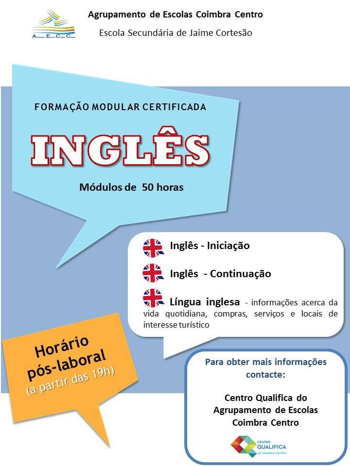 Cursos gratuitos de Inglês em Coimbra (Módulos de 50 horas)